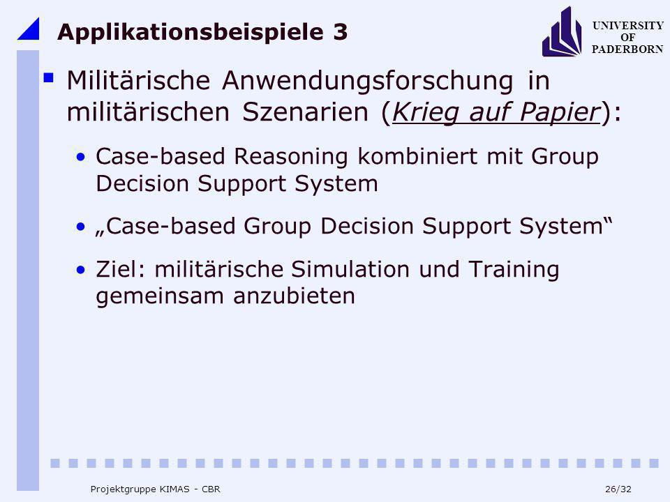 UNIVERSITY OF PADERBORN 26/32 Projektgruppe KIMAS - CBR Applikationsbeispiele 3 Militärische Anwendungsforschung in militärischen Szenarien (Krieg auf