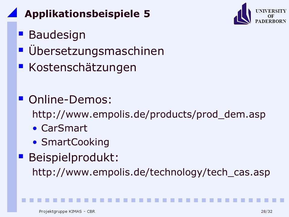 UNIVERSITY OF PADERBORN 28/32 Projektgruppe KIMAS - CBR Applikationsbeispiele 5 Baudesign Übersetzungsmaschinen Kostenschätzungen Online-Demos: http:/