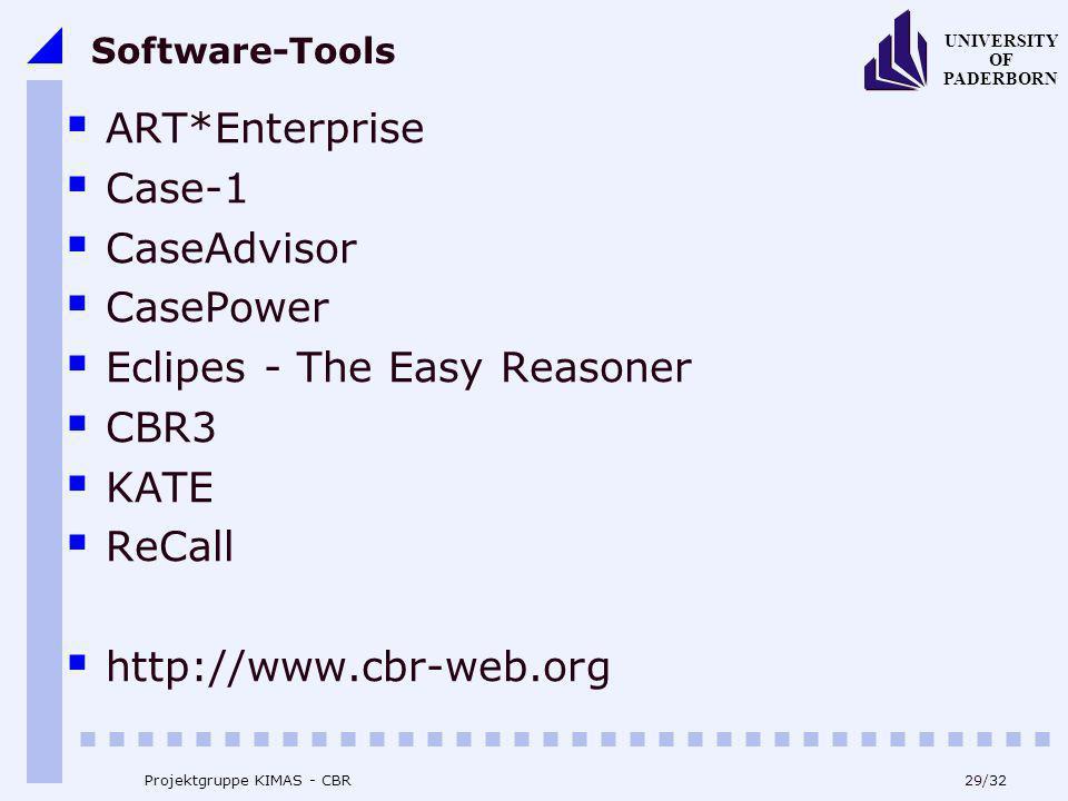 UNIVERSITY OF PADERBORN 29/32 Projektgruppe KIMAS - CBR Software-Tools ART*Enterprise Case-1 CaseAdvisor CasePower Eclipes - The Easy Reasoner CBR3 KA