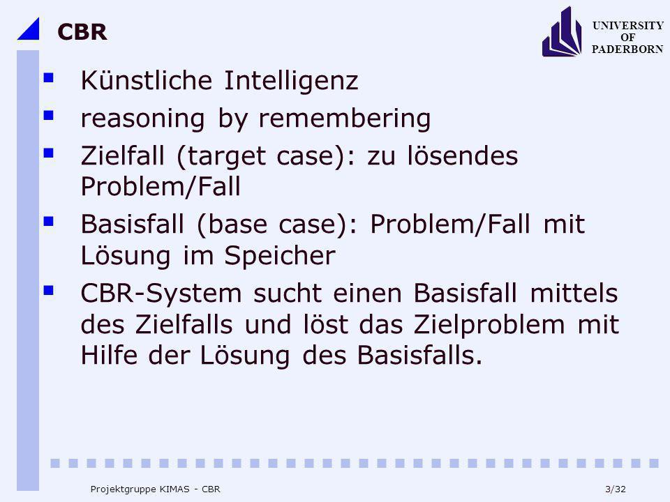 UNIVERSITY OF PADERBORN 3/32 Projektgruppe KIMAS - CBR CBR Künstliche Intelligenz reasoning by remembering Zielfall (target case): zu lösendes Problem