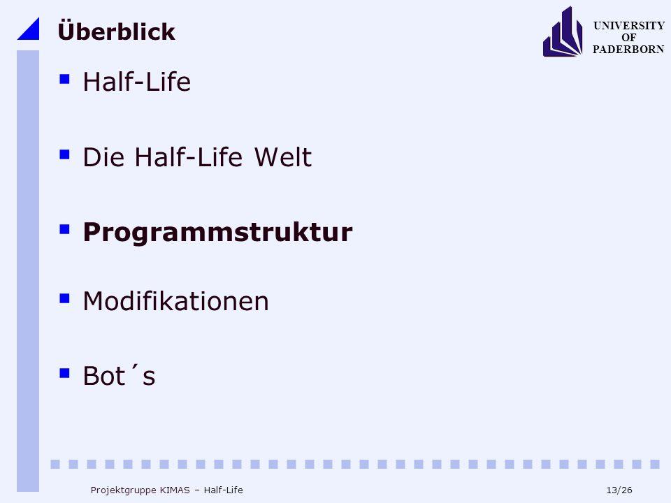 13/26 UNIVERSITY OF PADERBORN Projektgruppe KIMAS – Half-Life Überblick Half-Life Die Half-Life Welt Programmstruktur Modifikationen Bot´s