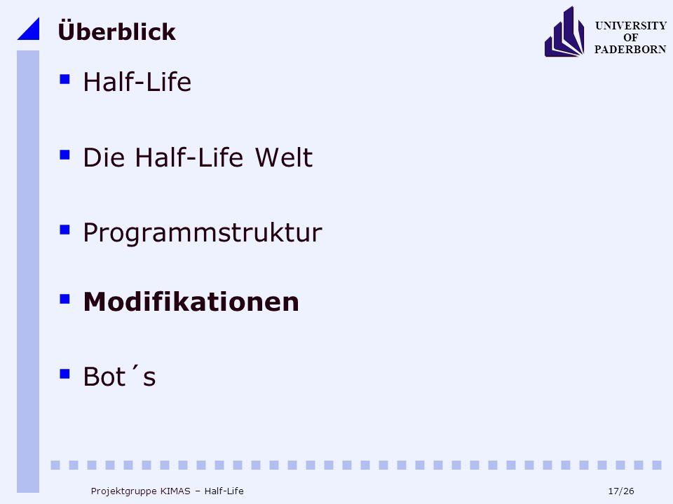 17/26 UNIVERSITY OF PADERBORN Projektgruppe KIMAS – Half-Life Überblick Half-Life Die Half-Life Welt Programmstruktur Modifikationen Bot´s