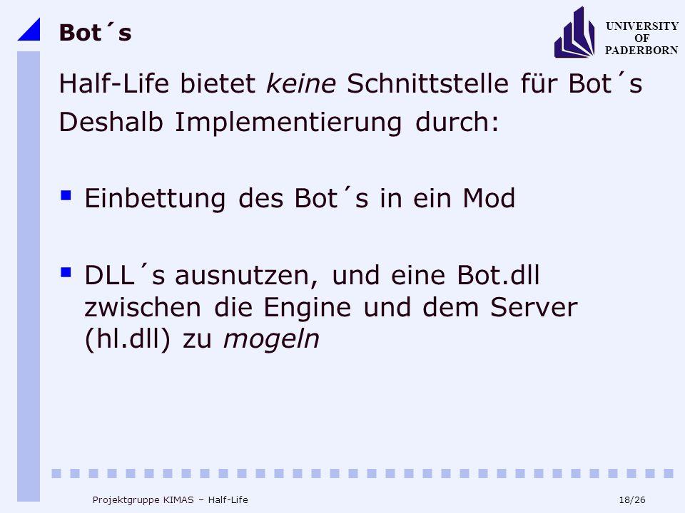 18/26 UNIVERSITY OF PADERBORN Projektgruppe KIMAS – Half-Life Bot´s Half-Life bietet keine Schnittstelle für Bot´s Deshalb Implementierung durch: Einbettung des Bot´s in ein Mod DLL´s ausnutzen, und eine Bot.dll zwischen die Engine und dem Server (hl.dll) zu mogeln