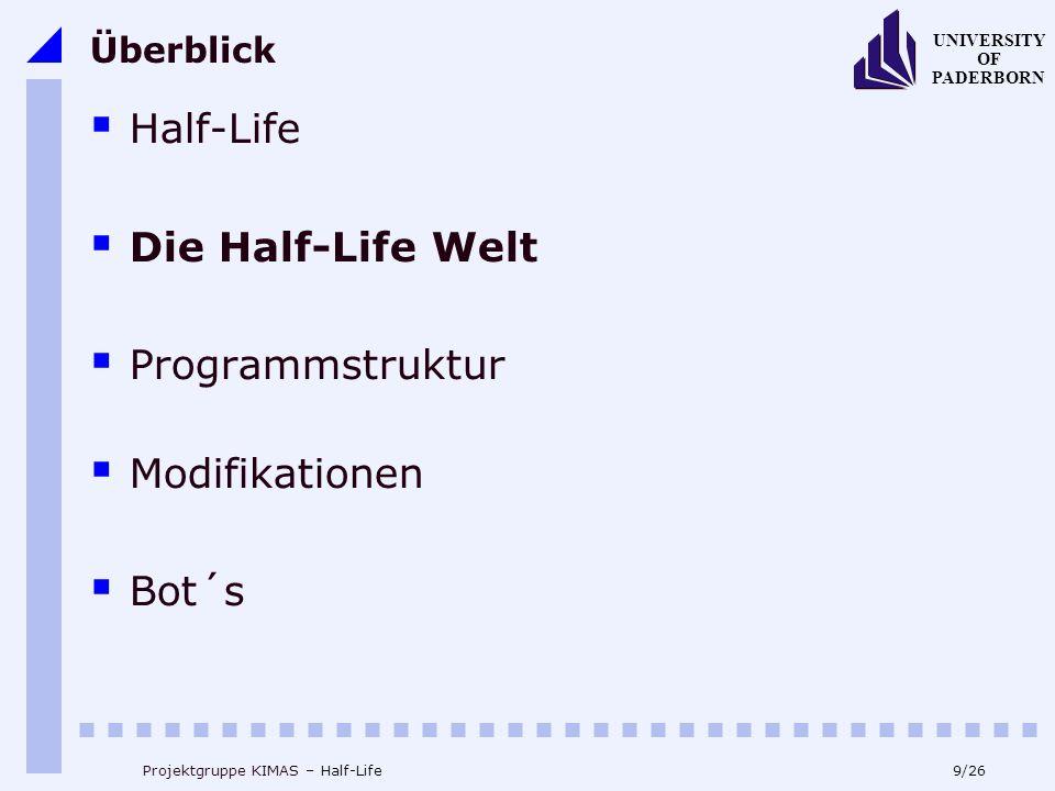 9/26 UNIVERSITY OF PADERBORN Projektgruppe KIMAS – Half-Life Überblick Half-Life Die Half-Life Welt Programmstruktur Modifikationen Bot´s