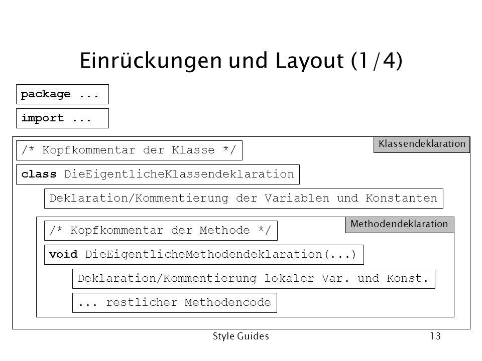 Style Guides13 Einrückungen und Layout (1/4) class DieEigentlicheKlassendeklaration package... import... /* Kopfkommentar der Klasse */ Deklaration/Ko