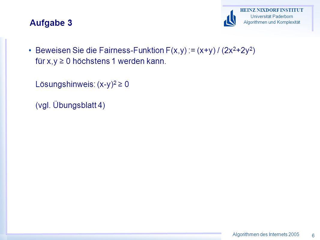 Algorithmen des Internets 2005 HEINZ NIXDORF INSTITUT Universität Paderborn Algorithmen und Komplexität 6 Aufgabe 3 Beweisen Sie die Fairness-Funktion F(x,y) := (x+y) / (2x 2 +2y 2 ) für x,y 0 höchstens 1 werden kann.