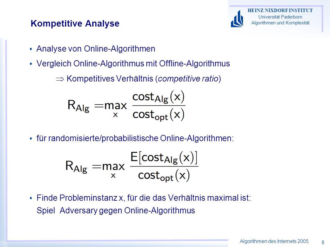 Algorithmen des Internets 2005 HEINZ NIXDORF INSTITUT Universität Paderborn Algorithmen und Komplexität 8 Kompetitive Analyse Analyse von Online-Algorithmen Vergleich Online-Algorithmus mit Offline-Algorithmus Kompetitives Verhältnis (competitive ratio) für randomisierte/probabilistische Online-Algorithmen: Finde Probleminstanz x, für die das Verhältnis maximal ist: Spiel Adversary gegen Online-Algorithmus