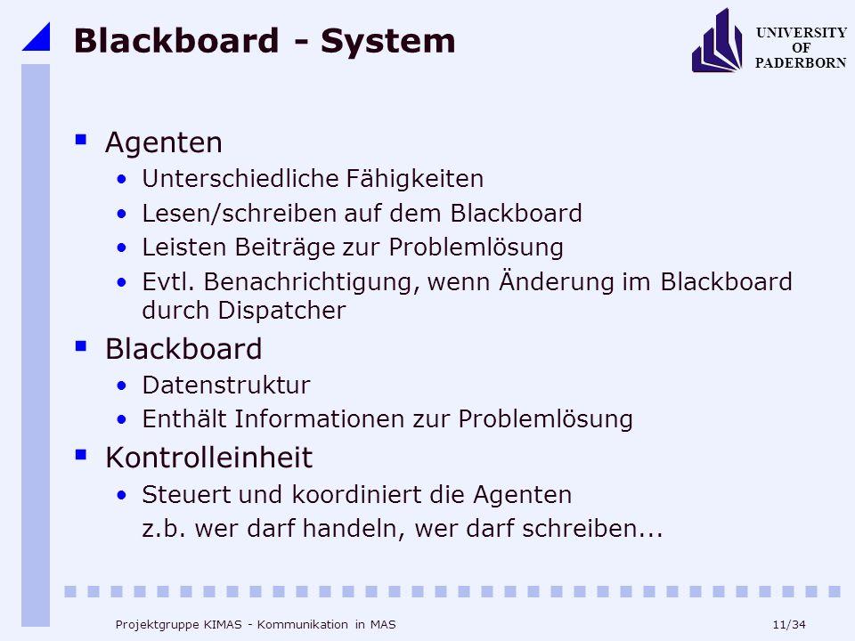 11/34 UNIVERSITY OF PADERBORN Projektgruppe KIMAS - Kommunikation in MAS Blackboard - System Agenten Unterschiedliche Fähigkeiten Lesen/schreiben auf