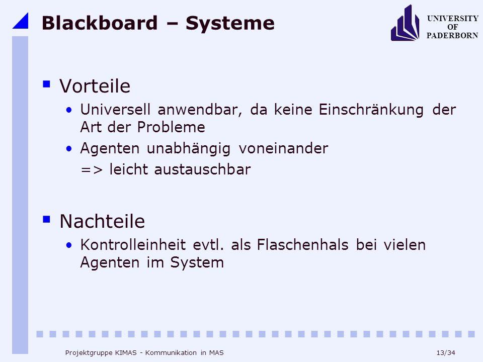 13/34 UNIVERSITY OF PADERBORN Projektgruppe KIMAS - Kommunikation in MAS Blackboard – Systeme Vorteile Universell anwendbar, da keine Einschränkung de