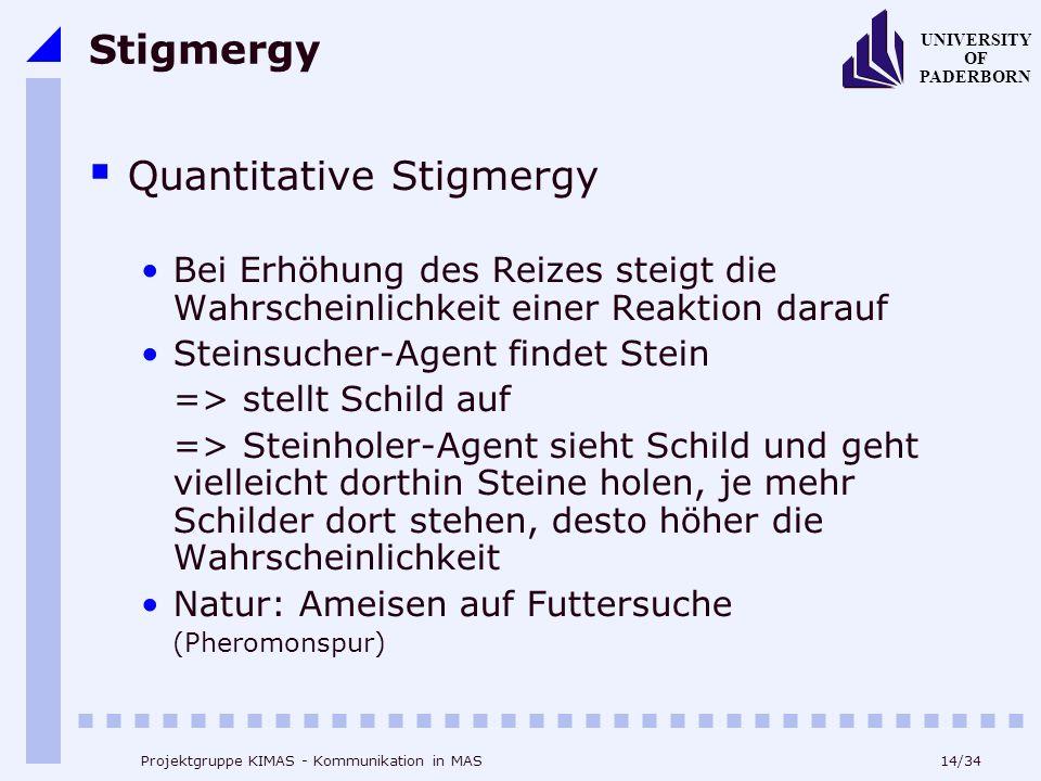 14/34 UNIVERSITY OF PADERBORN Projektgruppe KIMAS - Kommunikation in MAS Stigmergy Quantitative Stigmergy Bei Erhöhung des Reizes steigt die Wahrschei