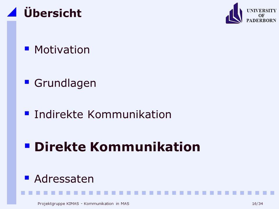 16/34 UNIVERSITY OF PADERBORN Projektgruppe KIMAS - Kommunikation in MAS Übersicht Motivation Grundlagen Indirekte Kommunikation Direkte Kommunikation