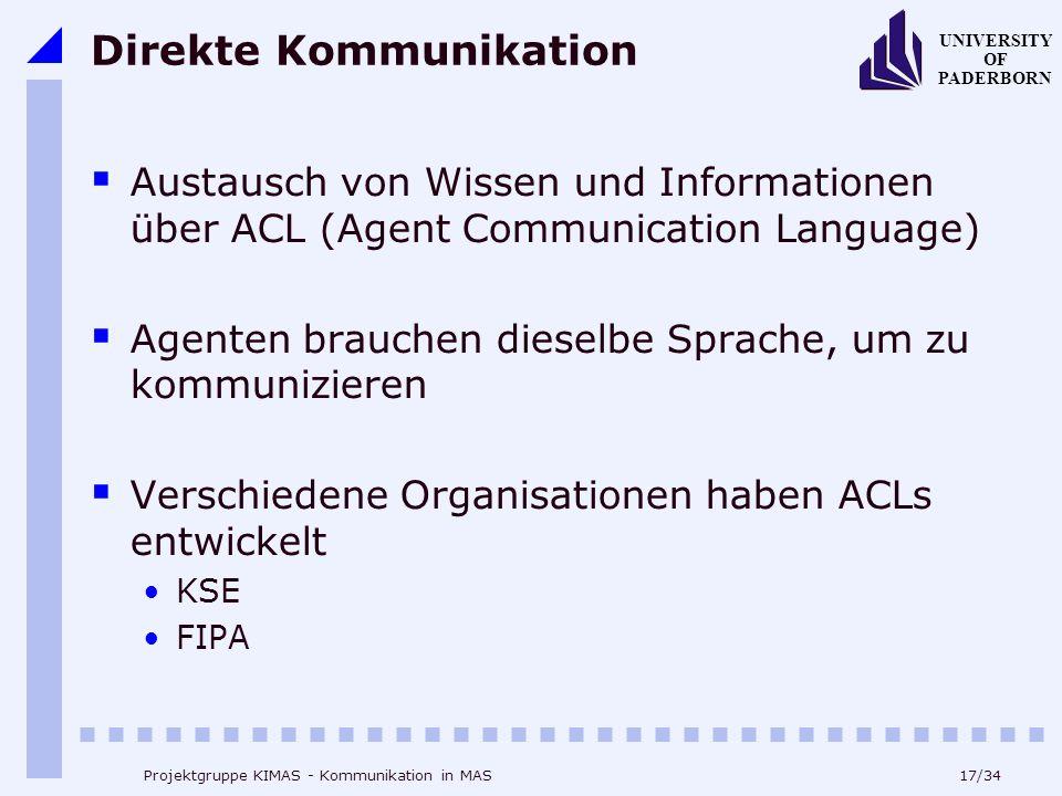 17/34 UNIVERSITY OF PADERBORN Projektgruppe KIMAS - Kommunikation in MAS Direkte Kommunikation Austausch von Wissen und Informationen über ACL (Agent