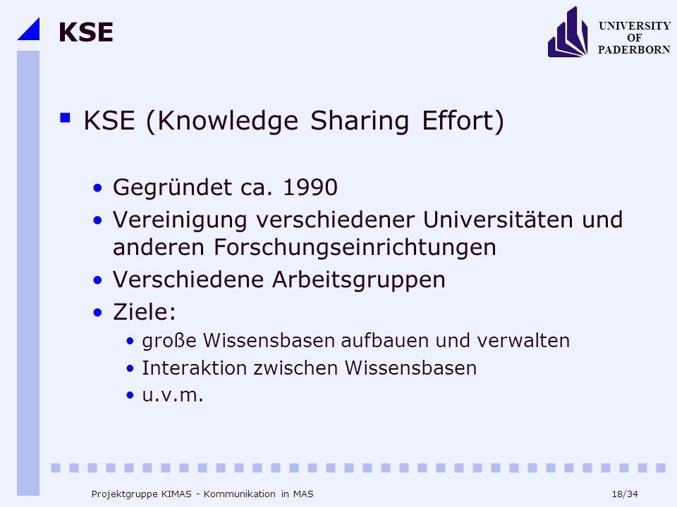 18/34 UNIVERSITY OF PADERBORN Projektgruppe KIMAS - Kommunikation in MAS KSE KSE (Knowledge Sharing Effort) Gegründet ca. 1990 Vereinigung verschieden