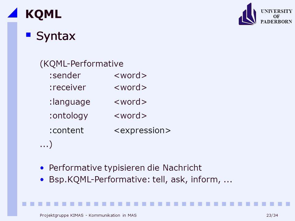 23/34 UNIVERSITY OF PADERBORN Projektgruppe KIMAS - Kommunikation in MAS KQML Syntax (KQML-Performative :sender :receiver :language :ontology :content