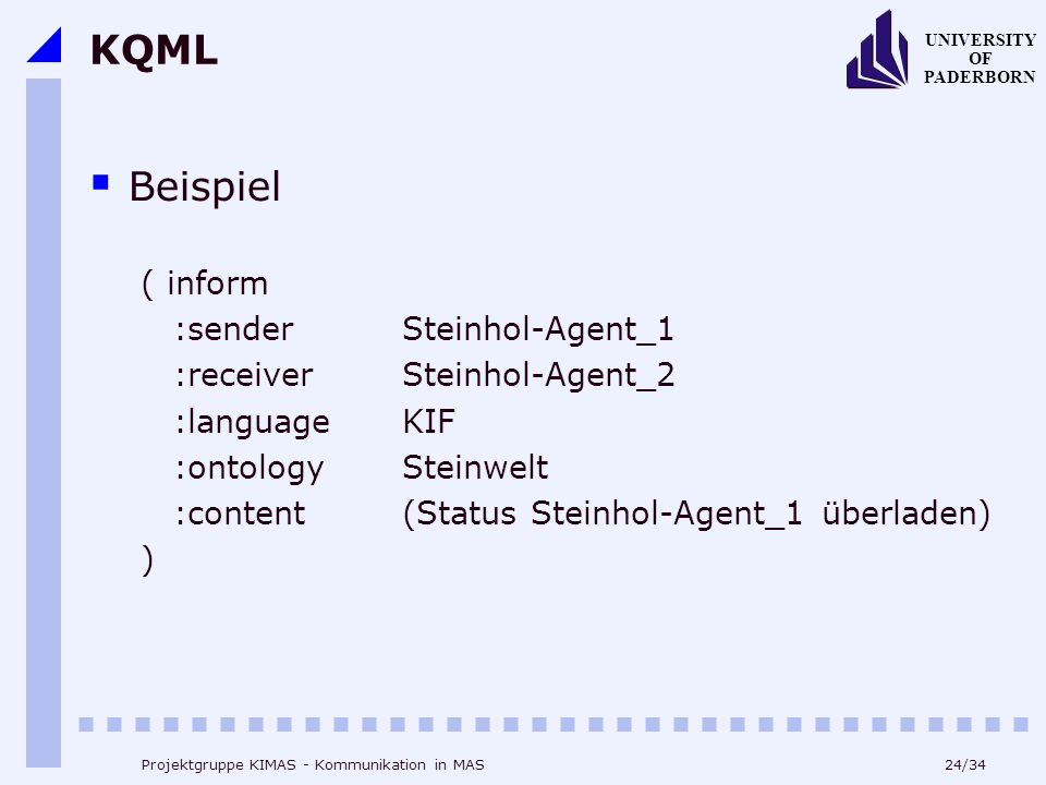 24/34 UNIVERSITY OF PADERBORN Projektgruppe KIMAS - Kommunikation in MAS KQML Beispiel ( inform :senderSteinhol-Agent_1 :receiverSteinhol-Agent_2 :lan