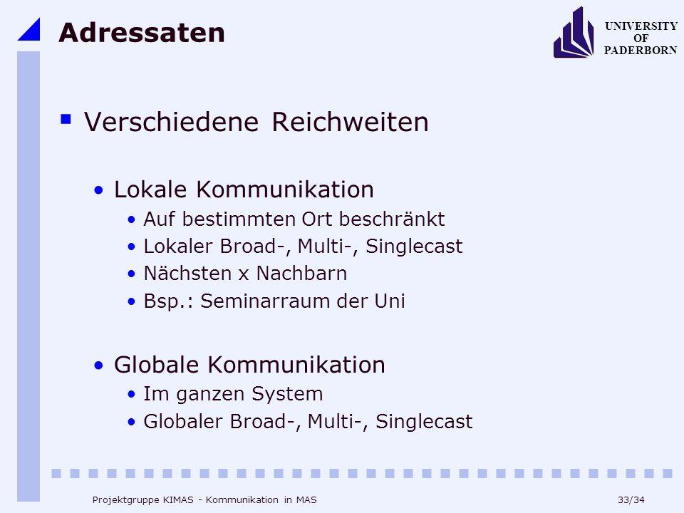 33/34 UNIVERSITY OF PADERBORN Projektgruppe KIMAS - Kommunikation in MAS Adressaten Verschiedene Reichweiten Lokale Kommunikation Auf bestimmten Ort b