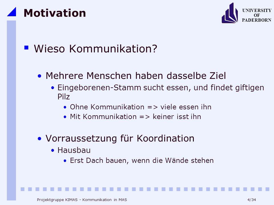 4/34 UNIVERSITY OF PADERBORN Projektgruppe KIMAS - Kommunikation in MAS Motivation Wieso Kommunikation? Mehrere Menschen haben dasselbe Ziel Eingebore