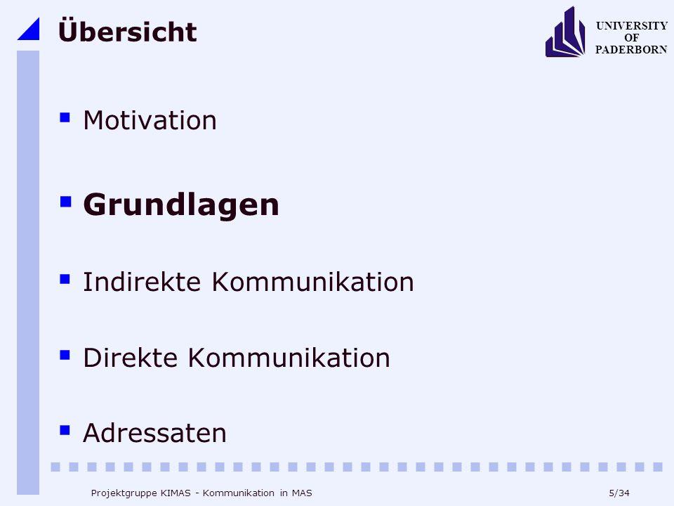 5/34 UNIVERSITY OF PADERBORN Projektgruppe KIMAS - Kommunikation in MAS Übersicht Motivation Grundlagen Indirekte Kommunikation Direkte Kommunikation