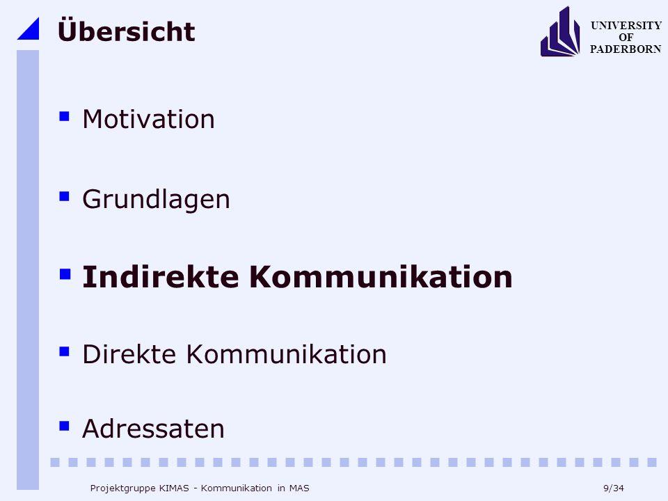 9/34 UNIVERSITY OF PADERBORN Projektgruppe KIMAS - Kommunikation in MAS Übersicht Motivation Grundlagen Indirekte Kommunikation Direkte Kommunikation