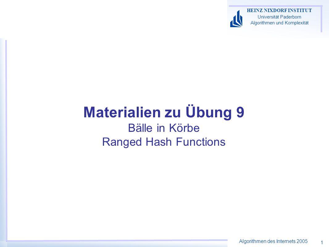 Algorithmen des Internets 2005 HEINZ NIXDORF INSTITUT Universität Paderborn Algorithmen und Komplexität 1 Materialien zu Übung 9 Bälle in Körbe Ranged Hash Functions