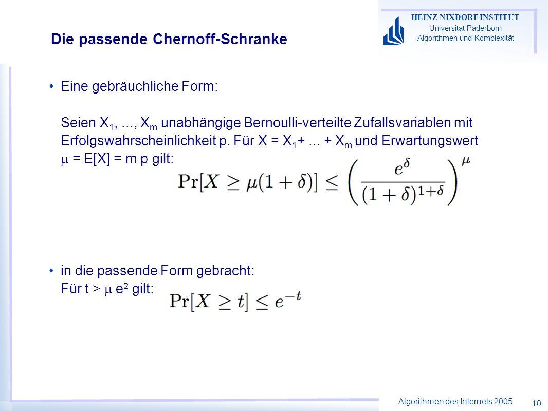 Algorithmen des Internets 2005 HEINZ NIXDORF INSTITUT Universität Paderborn Algorithmen und Komplexität 10 Die passende Chernoff-Schranke Eine gebräuchliche Form: Seien X 1,..., X m unabhängige Bernoulli-verteilte Zufallsvariablen mit Erfolgswahrscheinlichkeit p.