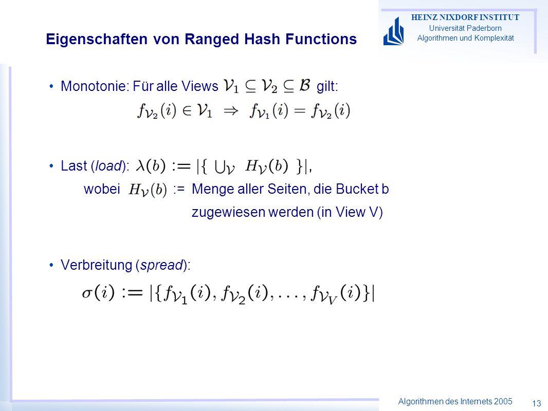 Algorithmen des Internets 2005 HEINZ NIXDORF INSTITUT Universität Paderborn Algorithmen und Komplexität 13 Eigenschaften von Ranged Hash Functions Mon