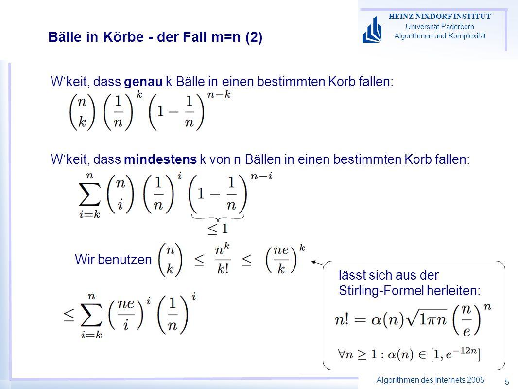 Algorithmen des Internets 2005 HEINZ NIXDORF INSTITUT Universität Paderborn Algorithmen und Komplexität 5 Bälle in Körbe - der Fall m=n (2) Wkeit, dass genau k Bälle in einen bestimmten Korb fallen: Wkeit, dass mindestens k von n Bällen in einen bestimmten Korb fallen: lässt sich aus der Stirling-Formel herleiten: Wir benutzen