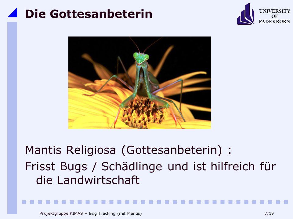 7/19 UNIVERSITY OF PADERBORN Projektgruppe KIMAS – Bug Tracking (mit Mantis) Die Gottesanbeterin Mantis Religiosa (Gottesanbeterin) : Frisst Bugs / Schädlinge und ist hilfreich für die Landwirtschaft