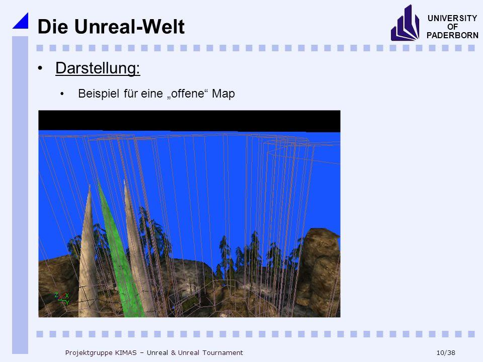 10/38 UNIVERSITY OF PADERBORN Projektgruppe KIMAS – Unreal & Unreal Tournament Die Unreal-Welt Beispiel für eine offene Map Darstellung:
