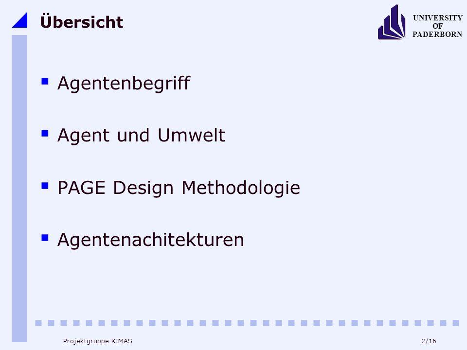2/16 UNIVERSITY OF PADERBORN Projektgruppe KIMAS Übersicht Agentenbegriff Agent und Umwelt PAGE Design Methodologie Agentenachitekturen