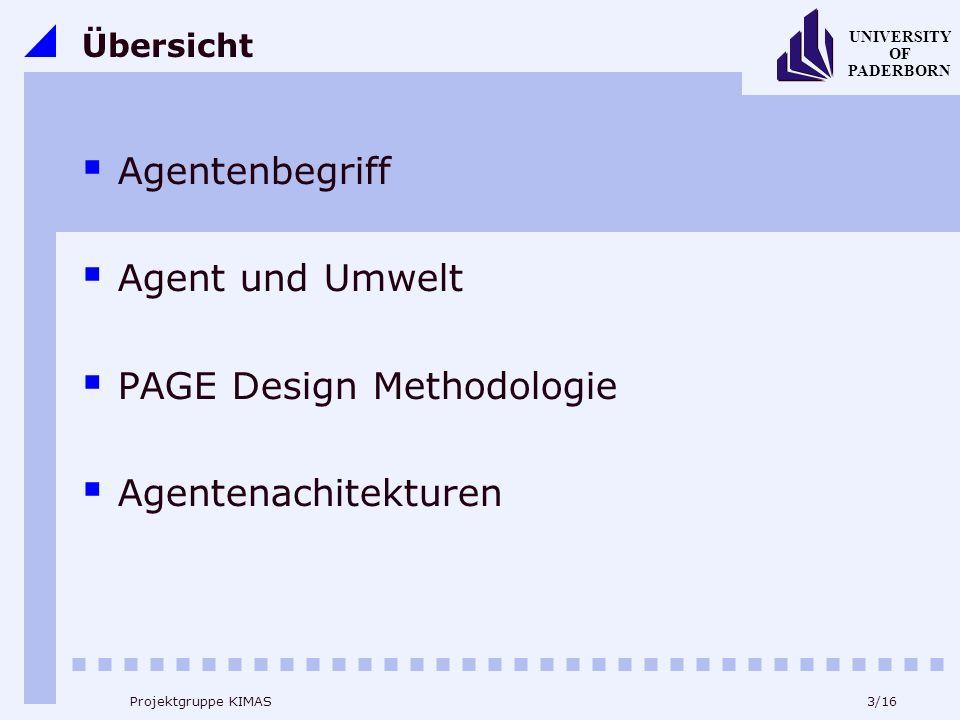 14/16 UNIVERSITY OF PADERBORN Projektgruppe KIMAS PAGE Design Methodologie Wahrnehmungen (percepts) Aktionen (actions) Ziele (goals) Umgebung (environment)