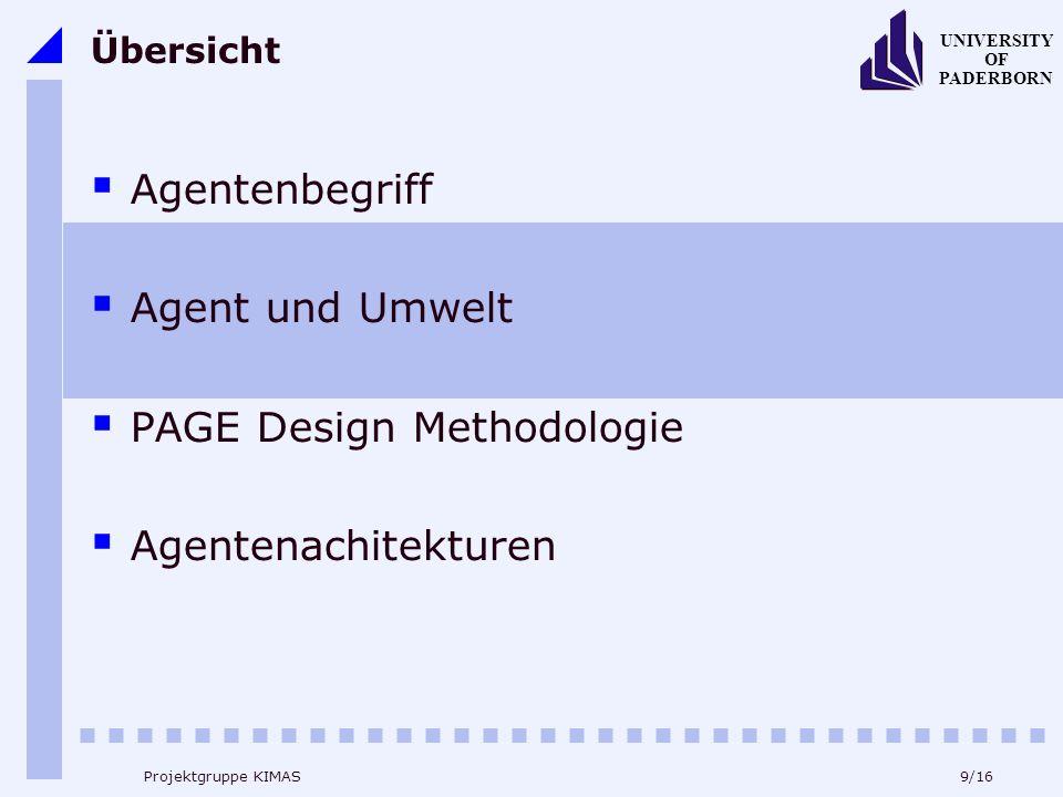 9/16 UNIVERSITY OF PADERBORN Projektgruppe KIMAS Übersicht Agentenbegriff Agent und Umwelt PAGE Design Methodologie Agentenachitekturen