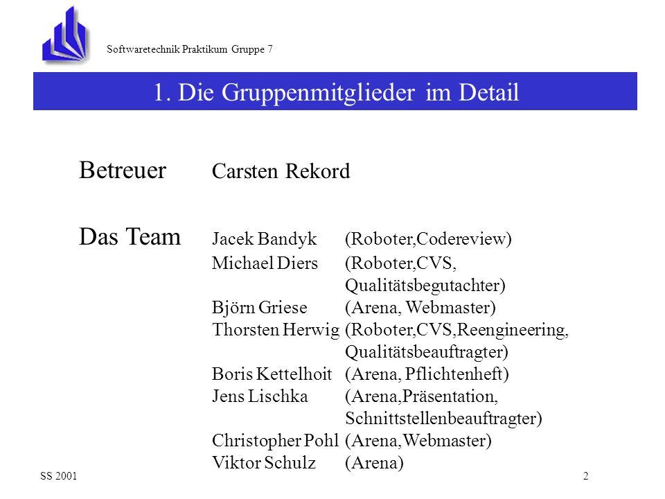 Softwaretechnik Praktikum Gruppe 7 Präsentation der KernelPanic-Group SS 20011 Inhalt : 4.