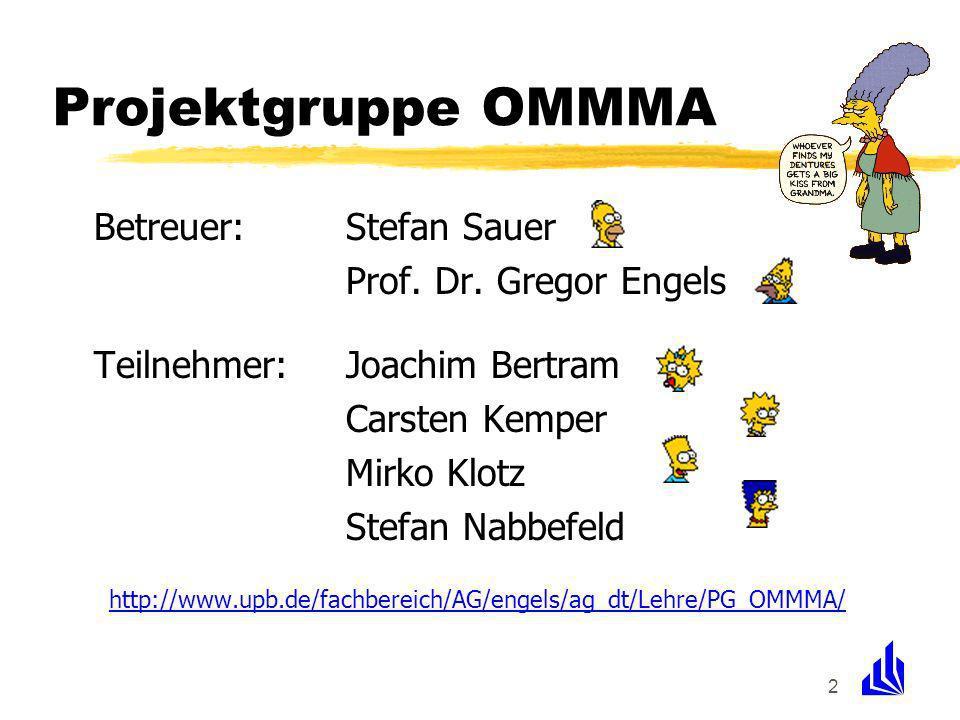 2 Projektgruppe OMMMA Betreuer:Stefan Sauer Prof. Dr. Gregor Engels Teilnehmer:Joachim Bertram Carsten Kemper Mirko Klotz Stefan Nabbefeld http://www.