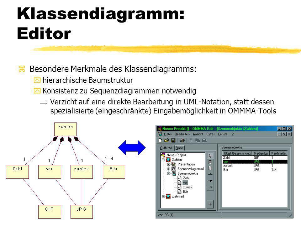25 Klassendiagramm: Editor zBesondere Merkmale des Klassendiagramms: yhierarchische Baumstruktur yKonsistenz zu Sequenzdiagrammen notwendig Verzicht auf eine direkte Bearbeitung in UML-Notation, statt dessen spezialisierte (eingeschränkte) Eingabemöglichkeit in OMMMA-Tools