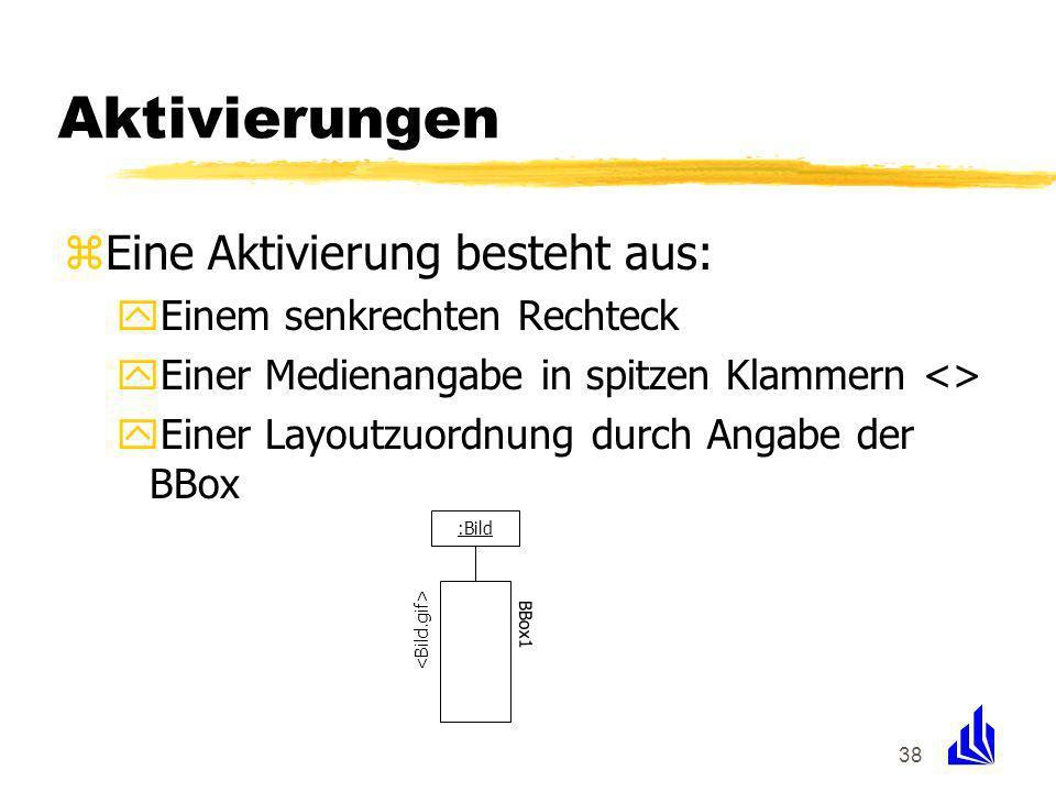 38 Aktivierungen zEine Aktivierung besteht aus: yEinem senkrechten Rechteck yEiner Medienangabe in spitzen Klammern <> yEiner Layoutzuordnung durch Angabe der BBox :Bild BBox1