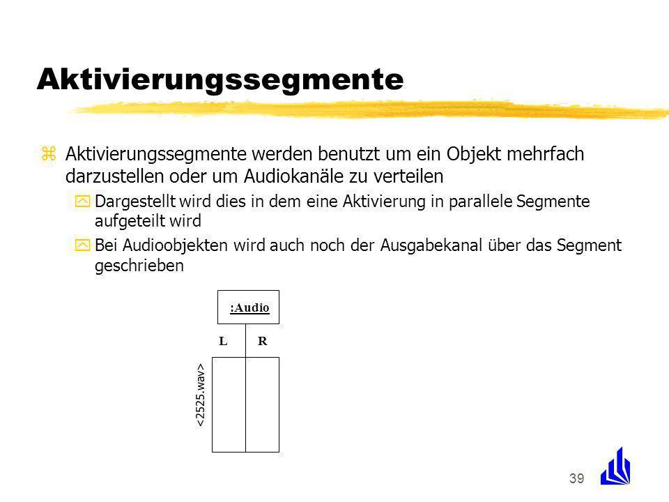 39 Aktivierungssegmente zAktivierungssegmente werden benutzt um ein Objekt mehrfach darzustellen oder um Audiokanäle zu verteilen yDargestellt wird dies in dem eine Aktivierung in parallele Segmente aufgeteilt wird yBei Audioobjekten wird auch noch der Ausgabekanal über das Segment geschrieben :Audio LR