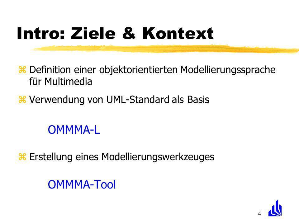 4 Intro: Ziele & Kontext zDefinition einer objektorientierten Modellierungssprache für Multimedia zVerwendung von UML-Standard als Basis OMMMA-L zErstellung eines Modellierungswerkzeuges OMMMA-Tool
