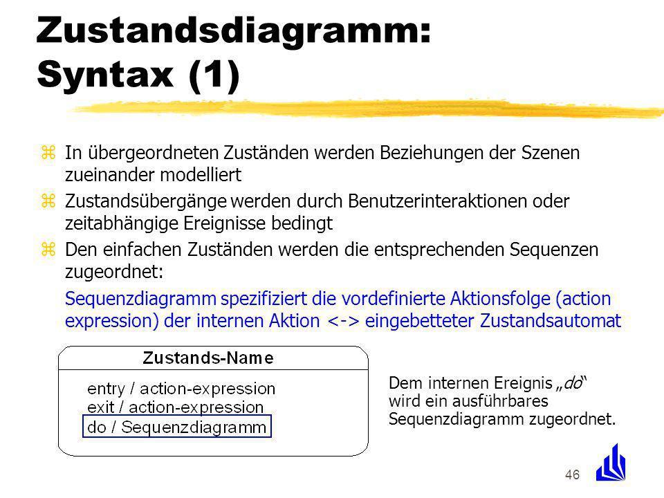 46 Zustandsdiagramm: Syntax (1) zIn übergeordneten Zuständen werden Beziehungen der Szenen zueinander modelliert zZustandsübergänge werden durch Benutzerinteraktionen oder zeitabhängige Ereignisse bedingt zDen einfachen Zuständen werden die entsprechenden Sequenzen zugeordnet: Sequenzdiagramm spezifiziert die vordefinierte Aktionsfolge (action expression) der internen Aktion eingebetteter Zustandsautomat Dem internen Ereignis do wird ein ausführbares Sequenzdiagramm zugeordnet.