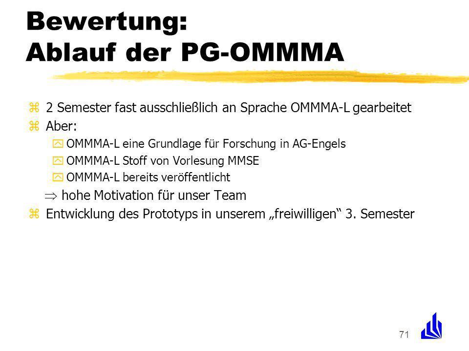 71 Bewertung: Ablauf der PG-OMMMA z2 Semester fast ausschließlich an Sprache OMMMA-L gearbeitet zAber: yOMMMA-L eine Grundlage für Forschung in AG-Engels yOMMMA-L Stoff von Vorlesung MMSE yOMMMA-L bereits veröffentlicht hohe Motivation für unser Team zEntwicklung des Prototyps in unserem freiwilligen 3.