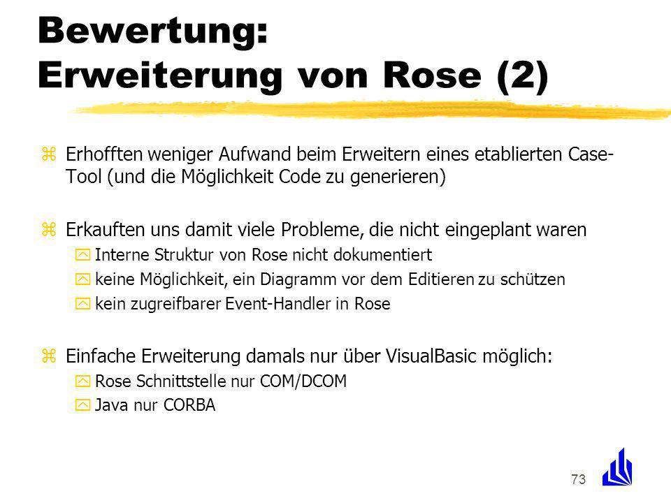 73 Bewertung: Erweiterung von Rose (2) zErhofften weniger Aufwand beim Erweitern eines etablierten Case- Tool (und die Möglichkeit Code zu generieren) zErkauften uns damit viele Probleme, die nicht eingeplant waren yInterne Struktur von Rose nicht dokumentiert ykeine Möglichkeit, ein Diagramm vor dem Editieren zu schützen ykein zugreifbarer Event-Handler in Rose zEinfache Erweiterung damals nur über VisualBasic möglich: yRose Schnittstelle nur COM/DCOM yJava nur CORBA