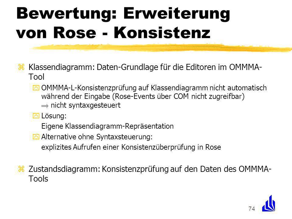 74 Bewertung: Erweiterung von Rose - Konsistenz zKlassendiagramm: Daten-Grundlage für die Editoren im OMMMA- Tool yOMMMA-L-Konsistenzprüfung auf Klassendiagramm nicht automatisch während der Eingabe (Rose-Events über COM nicht zugreifbar) nicht syntaxgesteuert yLösung: Eigene Klassendiagramm-Repräsentation yAlternative ohne Syntaxsteuerung: explizites Aufrufen einer Konsistenzüberprüfung in Rose zZustandsdiagramm: Konsistenzprüfung auf den Daten des OMMMA- Tools