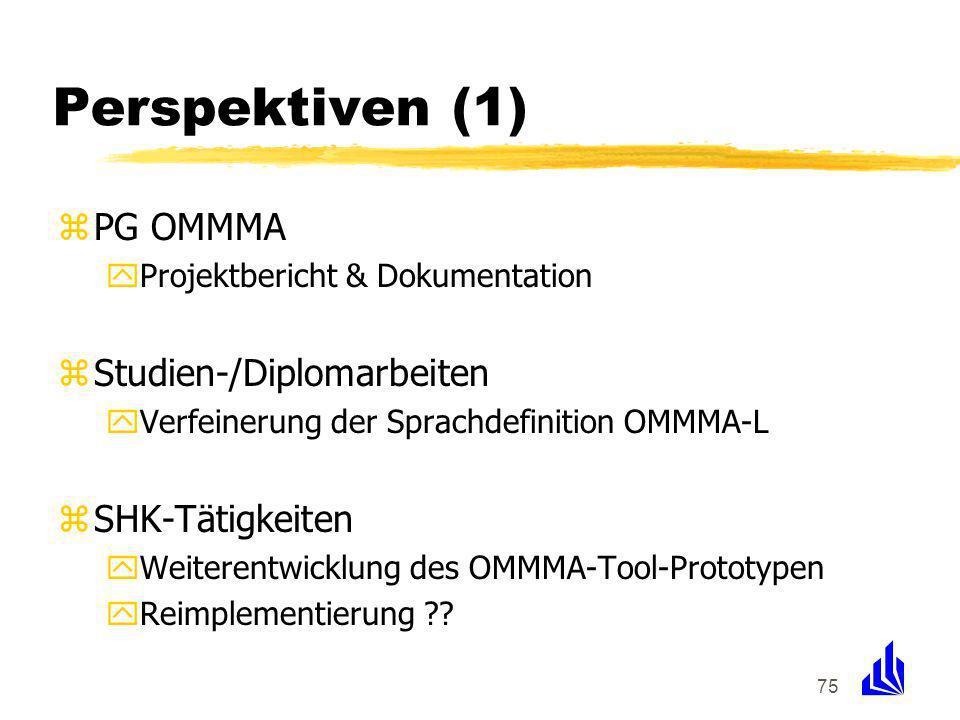 75 Perspektiven (1) zPG OMMMA yProjektbericht & Dokumentation zStudien-/Diplomarbeiten yVerfeinerung der Sprachdefinition OMMMA-L zSHK-Tätigkeiten yWeiterentwicklung des OMMMA-Tool-Prototypen yReimplementierung