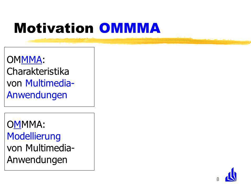 8 OMMMA: Charakteristika von Multimedia- Anwendungen OMMMA: Modellierung von Multimedia- Anwendungen Motivation OMMMA