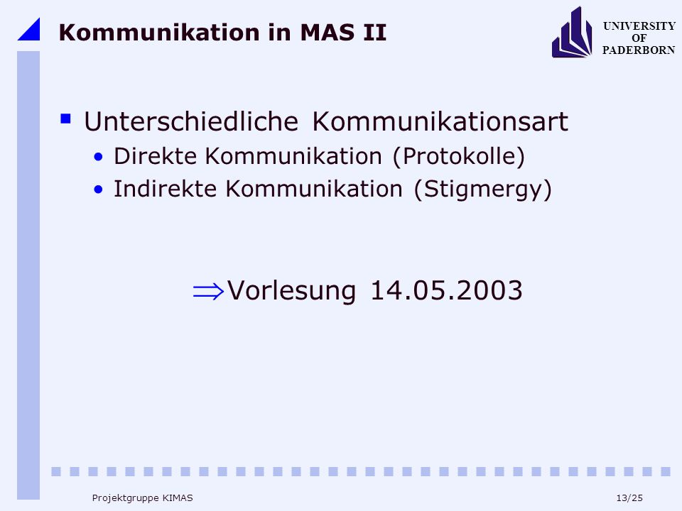 13/25 UNIVERSITY OF PADERBORN Projektgruppe KIMAS Kommunikation in MAS II Unterschiedliche Kommunikationsart Direkte Kommunikation (Protokolle) Indirekte Kommunikation (Stigmergy) Vorlesung 14.05.2003