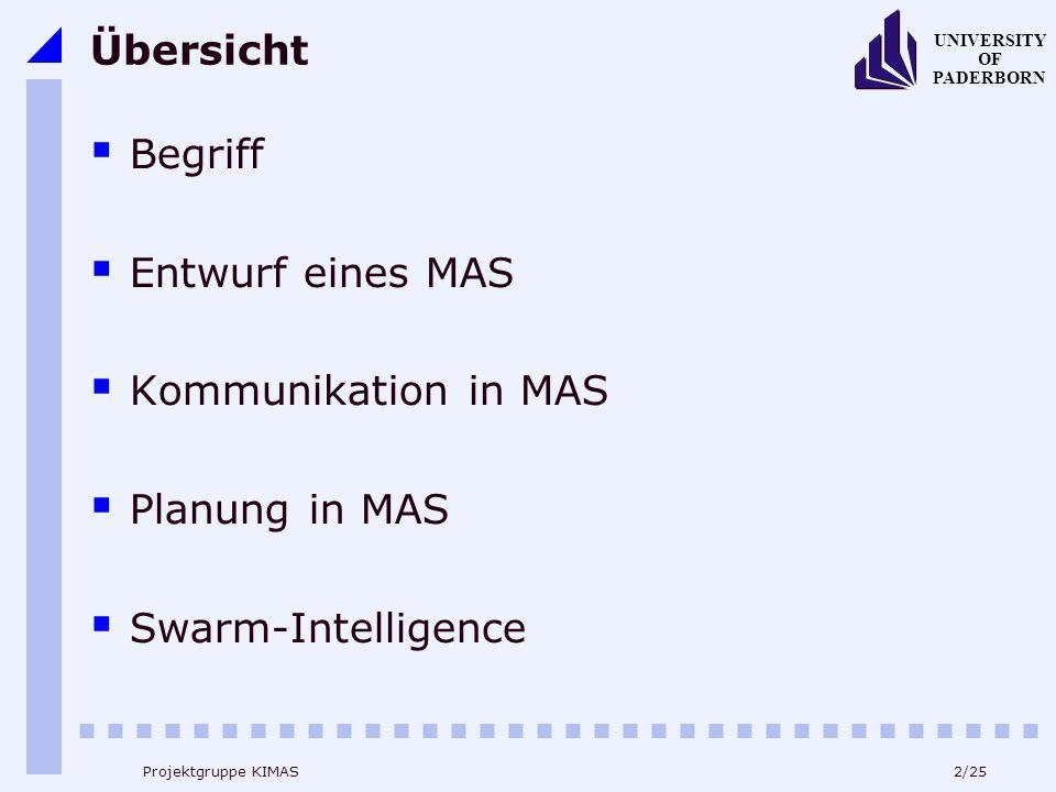 23/25 UNIVERSITY OF PADERBORN Projektgruppe KIMAS Übersicht Begriff Entwurf eines MAS Kommunikation in MAS Planung in MAS Swarm-Intelligence