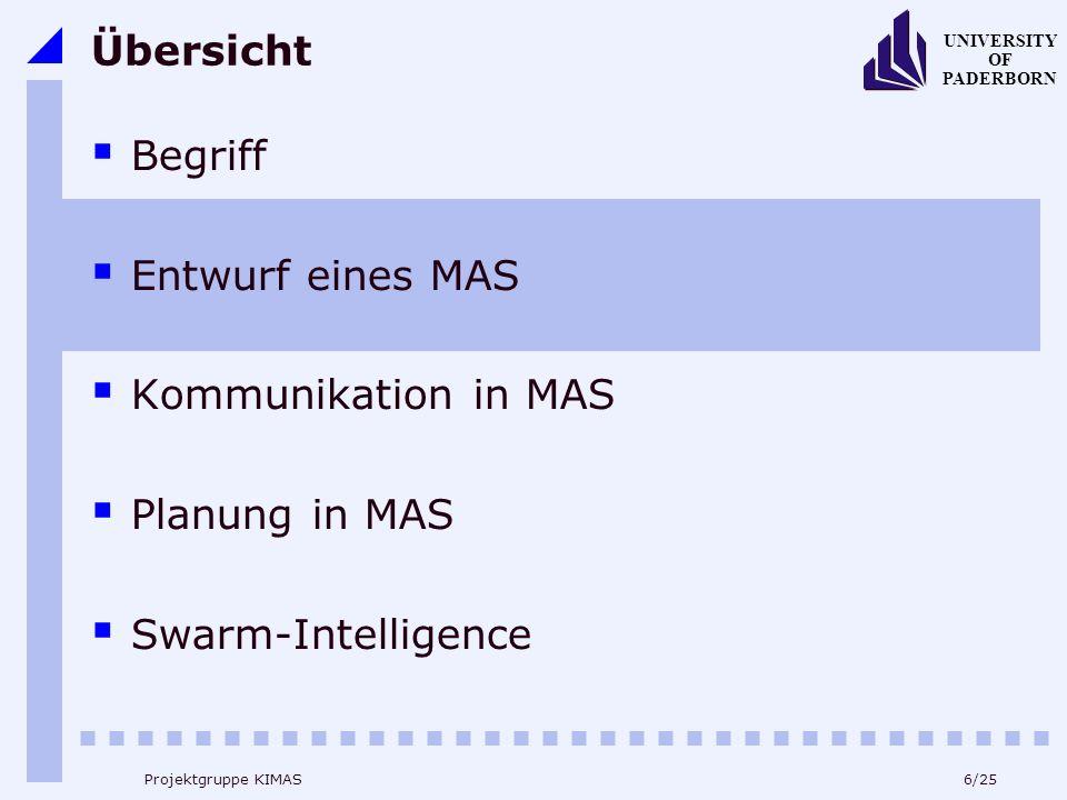 6/25 UNIVERSITY OF PADERBORN Projektgruppe KIMAS Übersicht Begriff Entwurf eines MAS Kommunikation in MAS Planung in MAS Swarm-Intelligence