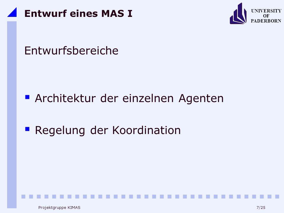 7/25 UNIVERSITY OF PADERBORN Projektgruppe KIMAS Entwurf eines MAS I Entwurfsbereiche Architektur der einzelnen Agenten Regelung der Koordination