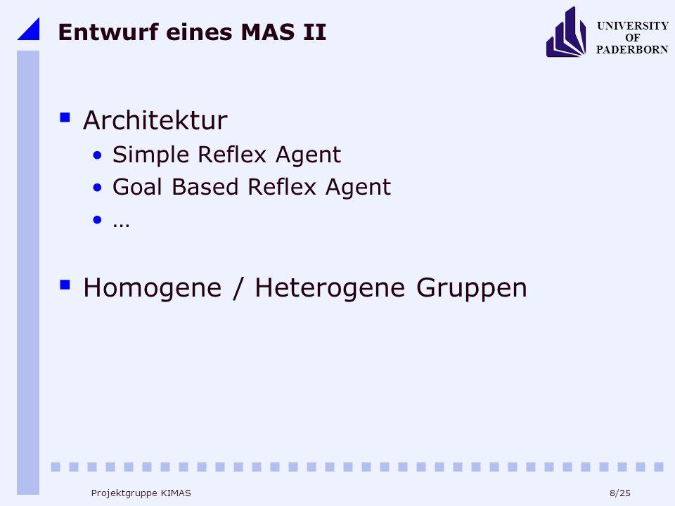 8/25 UNIVERSITY OF PADERBORN Projektgruppe KIMAS Entwurf eines MAS II Architektur Simple Reflex Agent Goal Based Reflex Agent … Homogene / Heterogene Gruppen