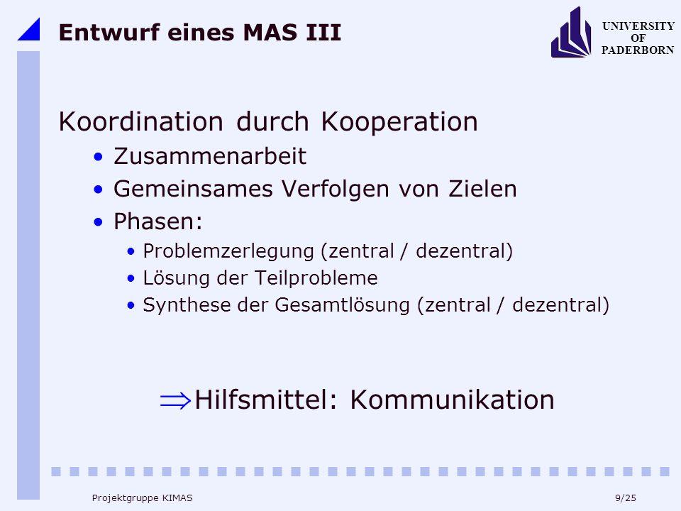 9/25 UNIVERSITY OF PADERBORN Projektgruppe KIMAS Entwurf eines MAS III Koordination durch Kooperation Zusammenarbeit Gemeinsames Verfolgen von Zielen Phasen: Problemzerlegung (zentral / dezentral) Lösung der Teilprobleme Synthese der Gesamtlösung (zentral / dezentral) Hilfsmittel: Kommunikation
